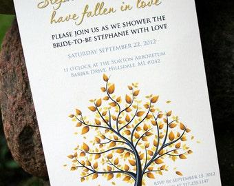 Falling in Love Autumn Themed Bridal Shower Invitation - Print at Home Custom Design