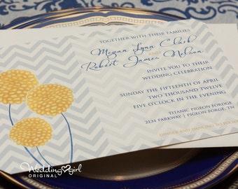 Chevron Wedding Invitation with Billy Balls / Craspedia Print at Home Template