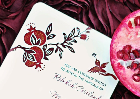 Pomegranate Wedding Invitations: Pomegranate Wedding Invitations Hand Painted And Embellished