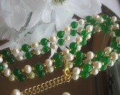 Akoya White Pearl and Emerald Gold Necklace and Earring Set