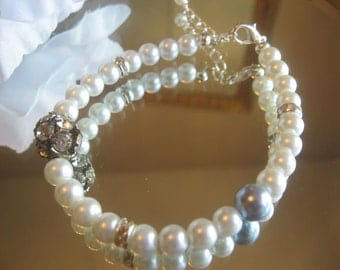 Something Old and Something Blue Vintage Rhinestone with Swarovski Blue Pearl and Rhinestone - Bridal Pearl Bracelet