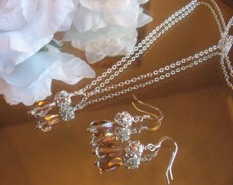 Bridal Swarovski Crystal Champagne Teardrop and Rhinestone Necklace and Earring Set/Bride or Bridesmaid Jewelry Set/Wedding Jewelry