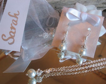Swarovski Rhinestone and Pearl Necklace and Earring Set - Personalized Bride or Bridesmaid Jewelry - Wedding Jewelry