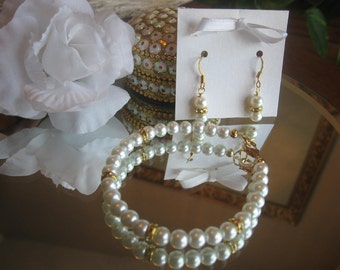 Classic Traditional Pearl and Swarovski Gold Filled Rhinestone Bracelet and Earring Set - Bride or Bridesmaid Jewelry Set