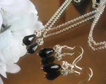 Swarovski Crystal Black Teardrop and  Rhinestone Silver Necklace and Earring Set - Bride or Bridesmaid Crystal Jewelry Set
