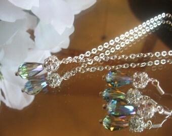 Swarovski Crystal Enrite Green AB Teardrop and  Rhinestone Silver Necklace and Earring Set - Bride or Bridesmaid Jewelry Set