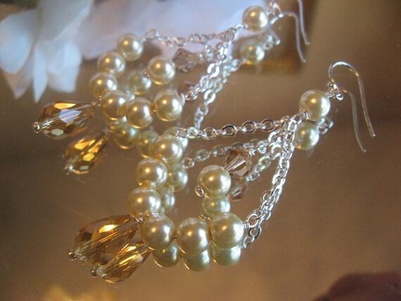 DOLLAR DAYS - Swarovski Crystal Topaz Teardrop with Golden Pearl Chandelier Sterling Silver Earrings