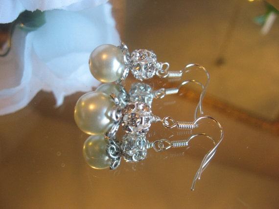 Vintage Style Swarovski Rhinestone and Pearl Silver Dangle Earrings - Bridesmaid Special