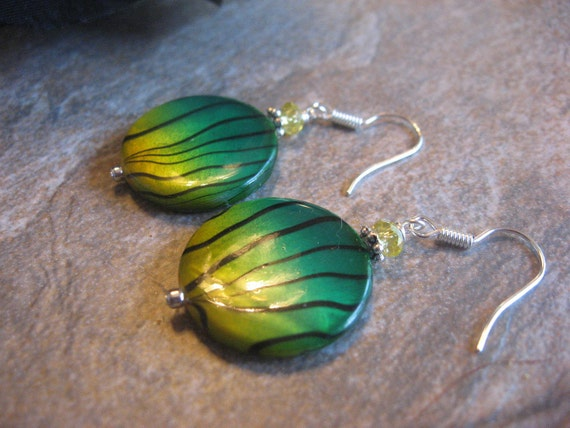 Mother of Pearl and Yellow Crystal Silver Dangle Earrings - Dollar Days