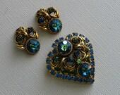 Vintage Heart Shape Blue and Green Rhinestone Brooch and Earrings