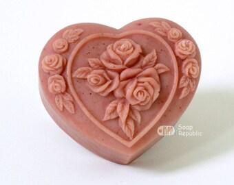 Rosy Heart Floral Silicone Soap Mold ( Soap Republic )