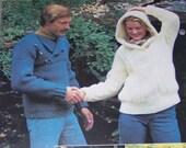 LEISURE ARTS 114 Easy Bulky Pullovers To Knit Irish Hooded Garter Adults Men Women 1977