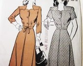 40s Advance 3755 Dress Front Pleat with Scallop Yoke and Sleeves Size 12 Bust 30