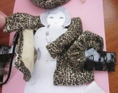 Handmade Bleuette Doll Glamorous Leopard Evening Out Clothing  Accessories--Jacket, Purse, Hat