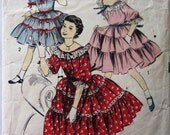 50s Advance 8404 Teen Dress Square Dance, Peasant Neck, Puff Sleeve Size 12 Bust 30