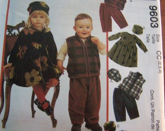 McCalls M 9603 Toddlers Cozy Togs- Dress, Vest,  Pull on Pants and Hats Size CC 2 3 4