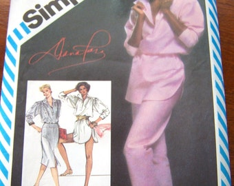 80s Simplicity 5875 Misses Pants Loose Fitting Tunic or Top Slim Skirt by Diana Ross Size 14 Bust 36