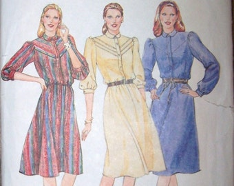 70s Butterick 4117 Misses Loose Fitting Dress Collar Puff Shoulders Size 8 80s