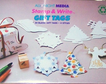 24 BLANK Christmas Winter Gift Tags or Ornaments Angel Tree Snowflake Stocking NIP All Night Media