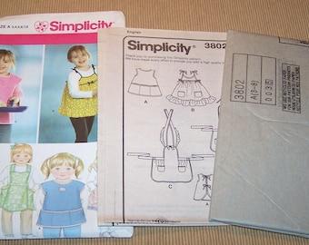 Simplicity 3802 Childs Apron Size A 3 4 5 6 7 8