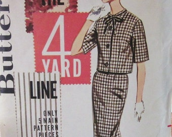 60s Butterick 2108  Slim Skirt and Jacket from 4 Yards of Fabric Size 16 Bust 36