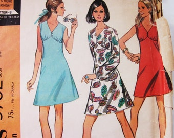 60s McCalls 9752 High Waisted Dress with Gathered Front Bodice Size 12 Bust 34