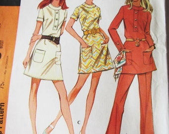 70s McCalls 2278 Mini Dress, Tunic and Pants Size 16 Bust 38