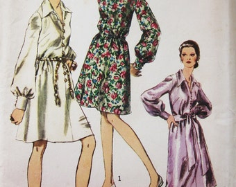 70s Simplicity 9008 Shirtwaist Dress with Long Sleeves with Buttoned Cuffs Size 16 Bust 38