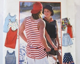Simplicity 9549 Mens/Misses Tank Top with Back Pockets and Sporty Shorts Size Large, XLarge Chest 42 44 46 48
