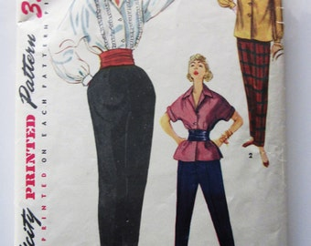 50s Simplicity 4464 Blouse, Overblouse and Tapered Pants Size 12 Breast 30