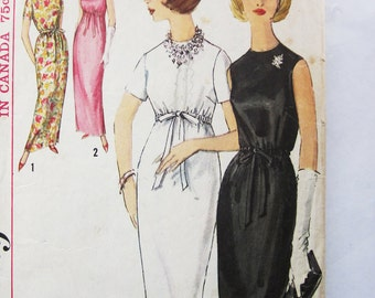 60s Simplicity 5224 Cocktail Dress or Evening Gown  Drawstring Empire Waist Size 12 Bust 32