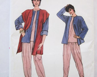 80s Vogue 8402 Loose Fitting Pants, Vest and Top Size 12 14 16 Bust 34 36 38