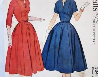 50s McCall's 3041 Keyhole Neckline Full Skirt Dress Size 12 Bust 30