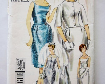 60s Vogue 4218 Special Design Wedding Dress, Evening or Bridesmaid Size 14 Bust 34