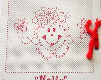Ragamuffin Kids Doll, Molly, Redwork Embroidery Pattern by Barbara Ortiz