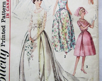 60s Simplicity 5343 Wedding Gown, Evening Dress Bridesmaid Size 12 Bust 32