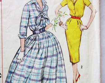 50s Simplicity 2580 Shawl Collared Dress SLIM or FULL SKIRT Size 12 Bust 32
