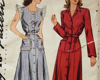 40s Simplicity 4718 Ruffled Dress or Housecoat Size 18 Bust 36