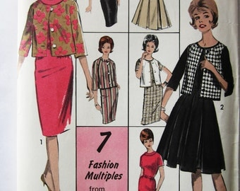 60s Advance 2978 Dress with Slim or Pleated Skirt, Jacket or Vest Size 14 Bust 34