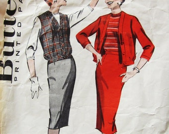 50s Butterick 8664 Slim Wiggle Skirt, Blouson Jacket or Jerkin Size 14 Bust 34