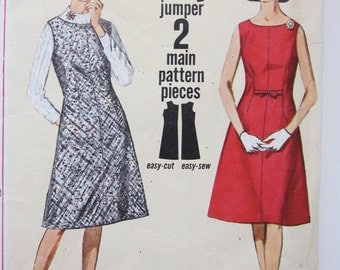 60s Simplicity 5052 Jiffy Dress or Jumper A-Line-Day or Evening Size 13 Bust 33