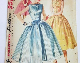 50s Simplicity 1191 Full Skirt with Wide Bateau Neck, Sleeveless Size 11 Bust 29
