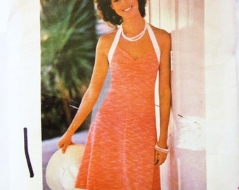 70s Butterick 3702 Halter Dress, Fitted and Flared, Above Knee - Size 12 Bust 34