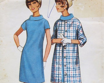 60s Butterick 4353 Slim Dress with Rolled Collar and Coat Size 14 Bust 34