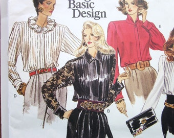 80s Vogue Basic Design 2202 Blouses with 5 Variations Ruffles and Collars -  Size 12 14 16  Bust 34 36 38