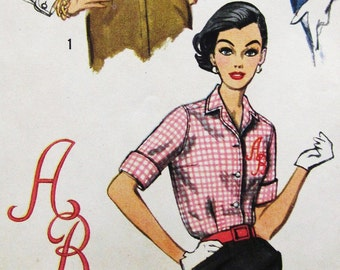 50s Simplicity 2195 Classic Shirtwaist Blouse and Monogram Size 14 Bust 34