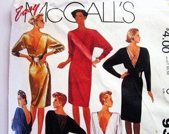 80s McCalls 9381 Evening Dress with Deep V Neckline in Back with Side Slits Pullover - Size 12 Bust 34