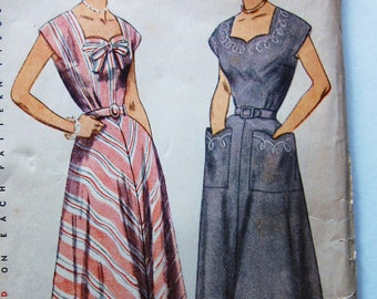 50s Simplicity 3586 Dress with Extended Shoulder, Shaped Neckline, 4 Gore skirt, Pocket - Size 14 Bust 32