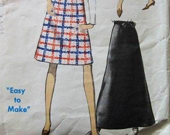 60s Vogue 7543 A-Line Skirt with Contoured Waistband Evening or Street length Waist 30 Hips 40