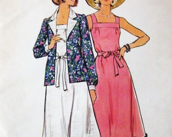 70s Butterick 4171 Square Neckline , Flared Sun Dress with Unlined Jacket Size 12 Bust 34
